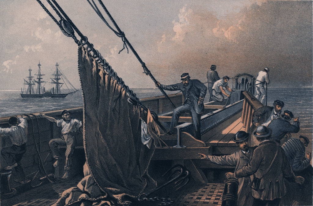 Detail of In the bows (of the 'Great Eastern') August 2nd the cable broken and lost - preparing to grapple by R. Dudley