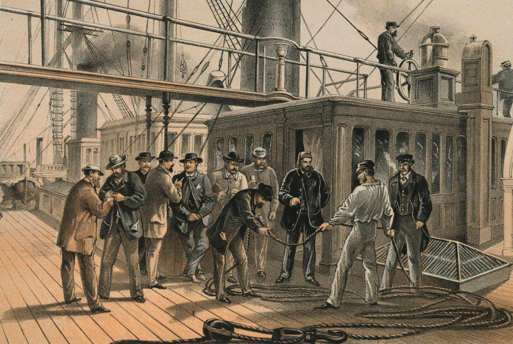 Detail of Searching for fault aboard the 'Great Eastern' after recovery of the cable from the bed of the Atlantic, 31 July 1865 by R. Dudley