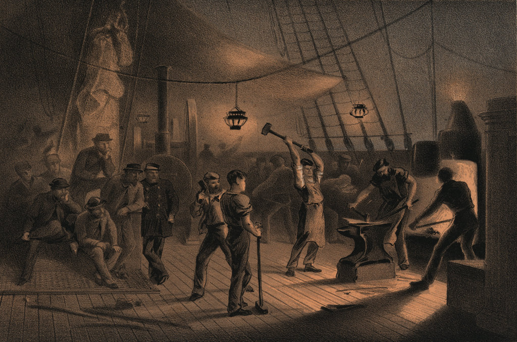Detail of The forge on deck (of the 'Great Eastern') - night of August 9th preparing the iron plating for capstan by R. Dudley