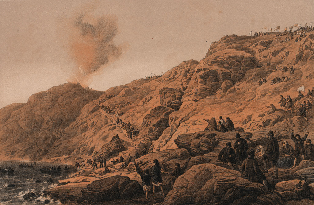 Detail of The cliffs Foilhummerum Bay, point of the landing of the shore end of cable, 22 July 1865 by R. Dudley