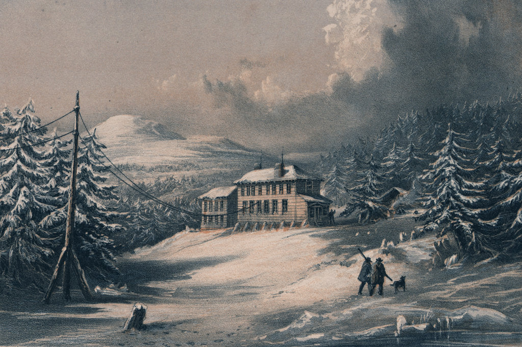 Detail of Trinity Bay, Newfoundland. Exterior view of Telegraph House in 1857-1858 by R. Dudley