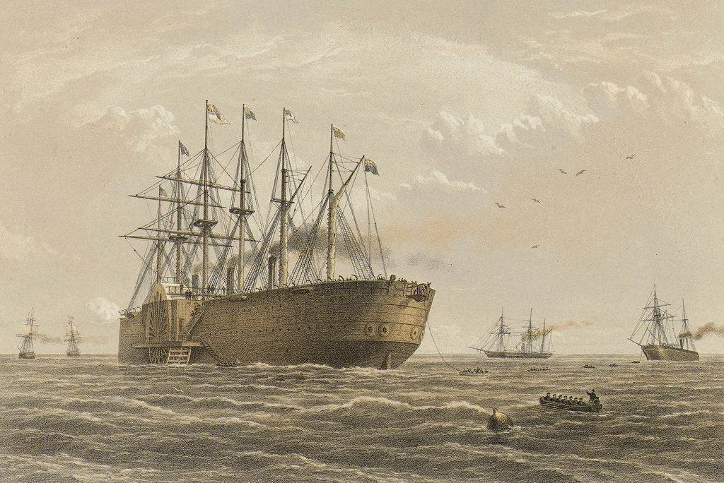 Detail of The 'Great Eastern' under weight July 23rd (escort and other ships introduced being the Terrible, the Sphinx the Hawk & the Caroline) by R. Dudley