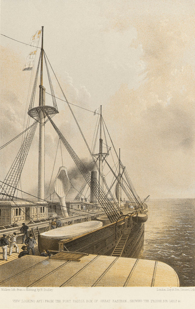 Detail of View (looking aft) from the port paddle box of 'Great Eastern' - showing the trough for cable &c by R. Dudley