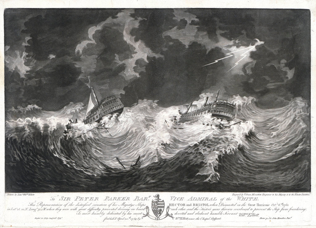 Detail of To Sir Peter Parker... This Representation of the distressed situation of his Majesty's Ships 'Hector' and 'Bristol' when dismasted in the Great Hurricane, Octr 6th, 1780... by... Willm Elliott by William Elliott