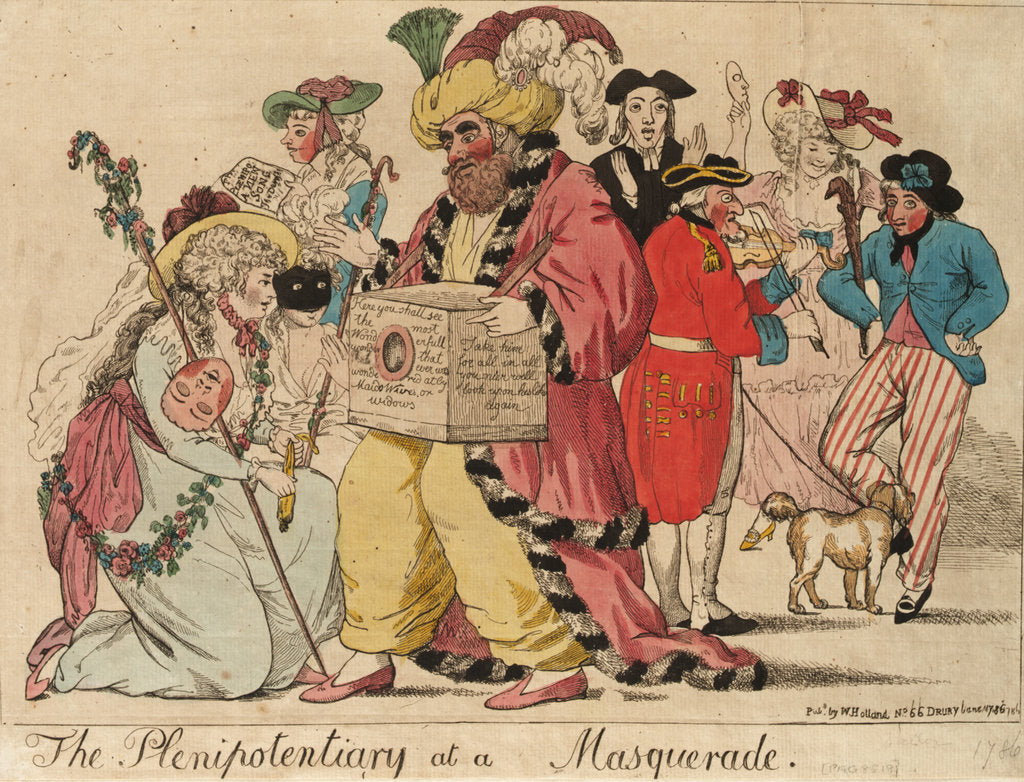 Detail of The Plenipotentiary at a Masquerade by Isaac Cruikshank