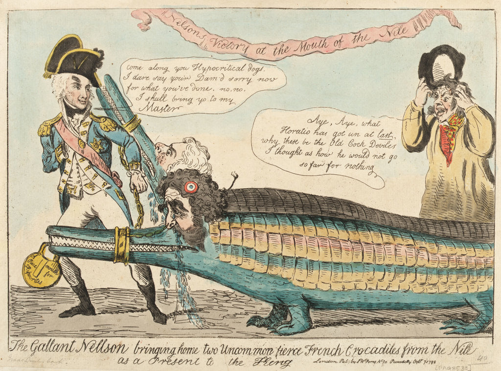 Detail of The Gallant Nelson bringing home two Uncommon fierce French Crocodiles from the Nile as a Present to the King by Isaac Cruikshank