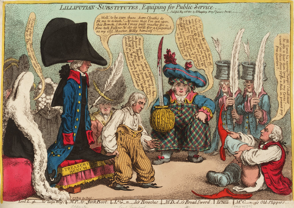 Detail of Lilliputian - Substitutes, Equiping for Public Service by James Gillray