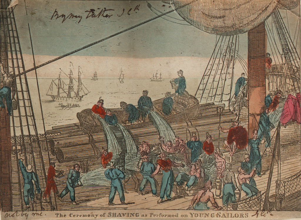 Detail of The Ceremony of Shaving as Performed on Young Sailors by George Cruikshank