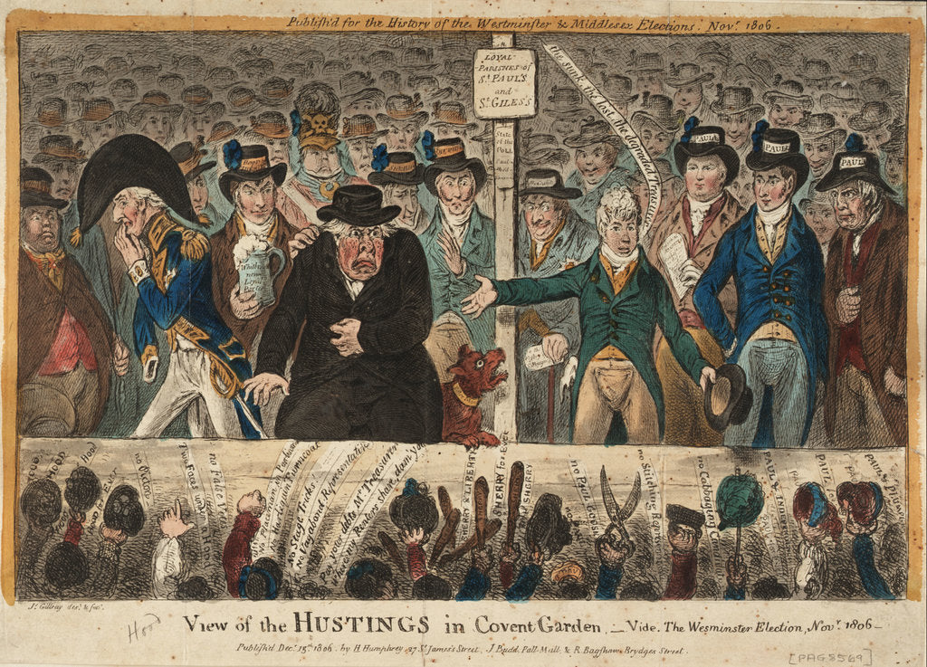 Detail of View of the Hustings in Covent Garden - Vide, The Westminster Election, Novr 1806 by James Gillray