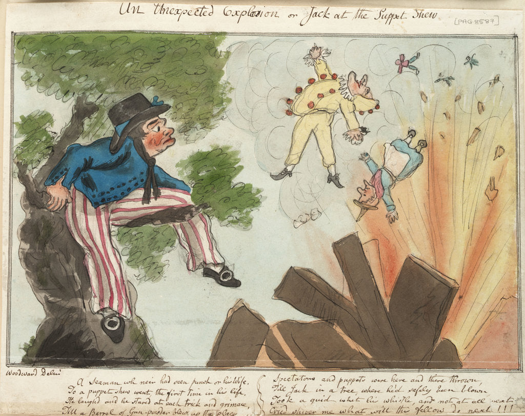 Detail of An Unexpected Explosion or Jack at the Puppet Shew by George M. Woodward