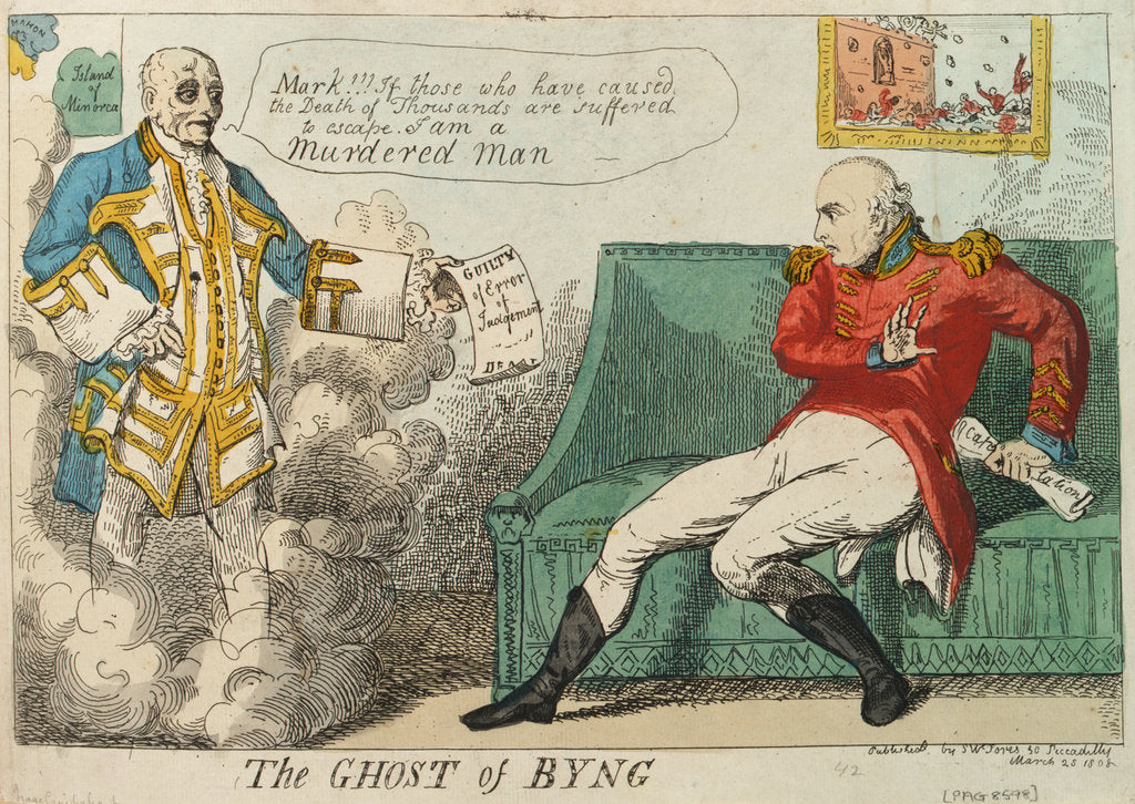 Detail of The Ghost of Byng by Isaac Cruikshank