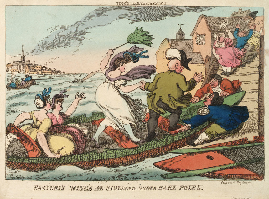 Detail of Tegg's Caricatures No.2. Easterly Winds, or Scudding Under Bare Poles by Thomas Rowlandson