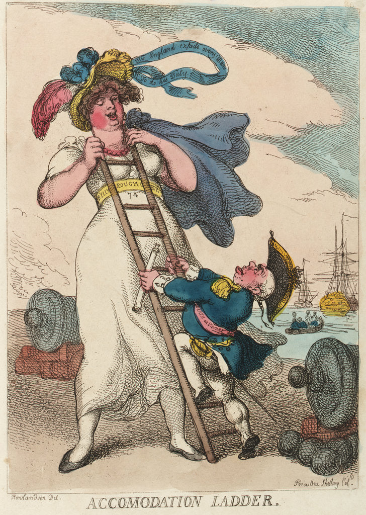 Detail of Accommodation ladder by Thomas Rowlandson