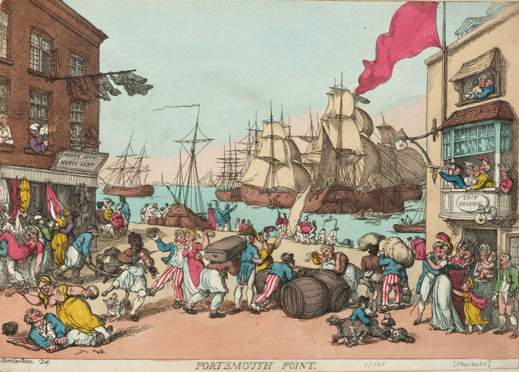 Detail of Portsmouth Point by Thomas Rowlandson