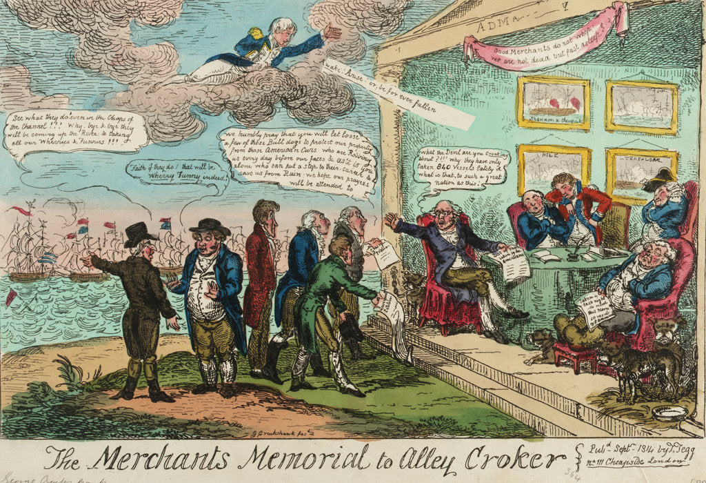 Detail of The Merchants Memorial to Alley Croker by George Cruikshank