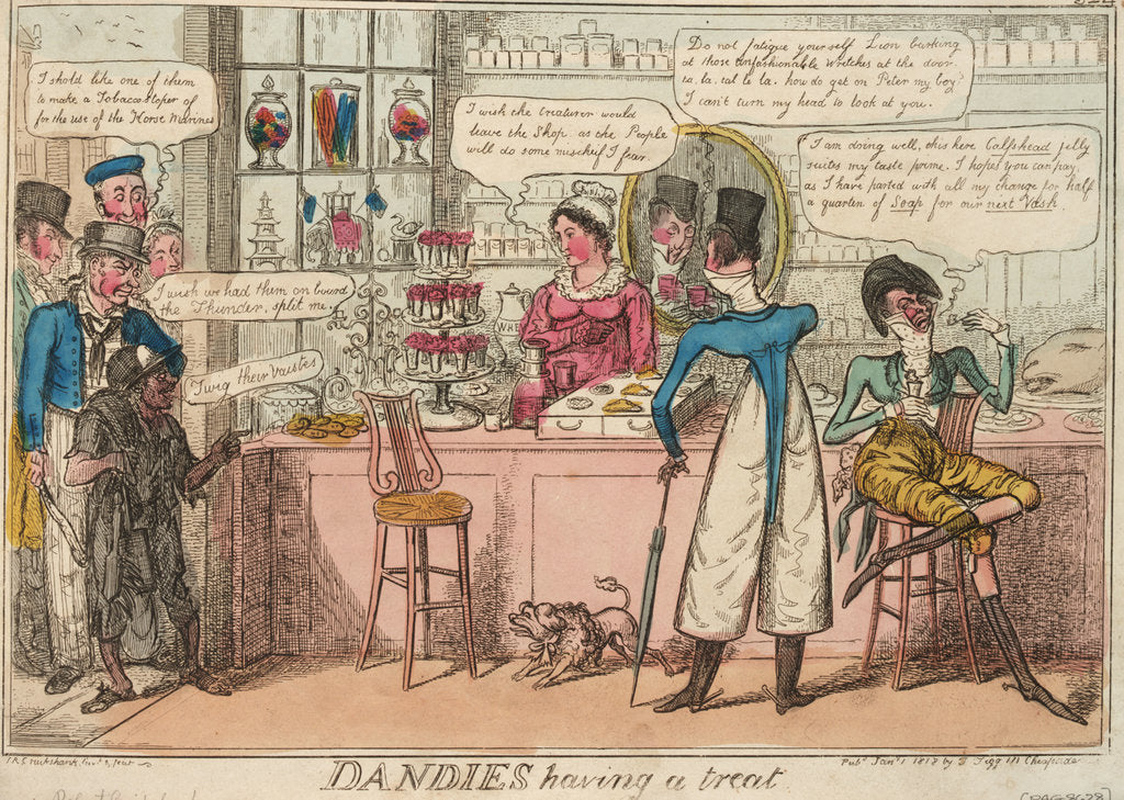 Detail of Dandies having a treat by Isaac Cruikshank