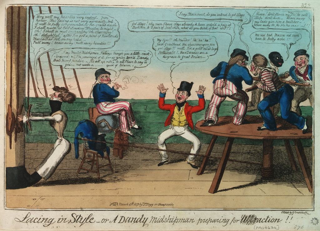 Detail of Lacing in Style - or A Dandy Midshipman preparing for action by George Cruikshank