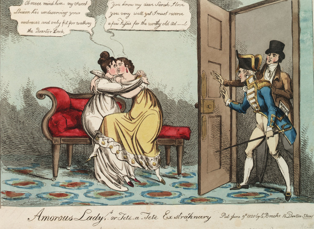 Detail of Amorous Ladys. or Tete - a - Tete Exstraohnary (Lady Strachan) by William Heath