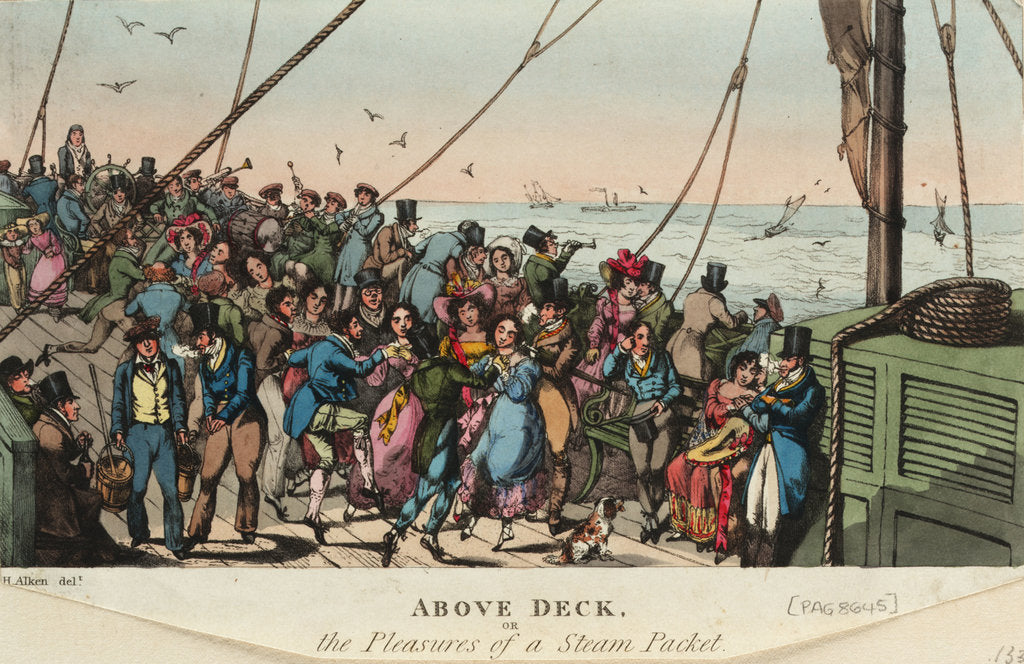 Detail of Above Deck, or the Pleasures of a steam packet by Henry Alken