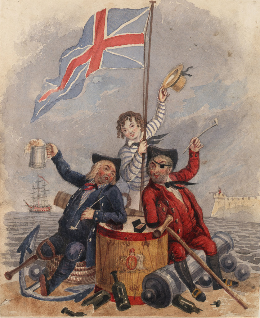Detail of Disabled sailor and soldier leaning on drum toasting Union Flag supported by young sailor by unknown