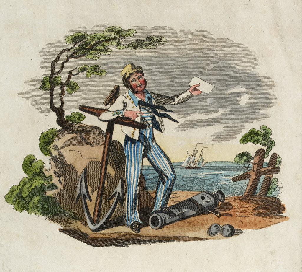 Detail of Sailor leaning on anchor with foot on gun barrel, holding paper in left hand by unknown