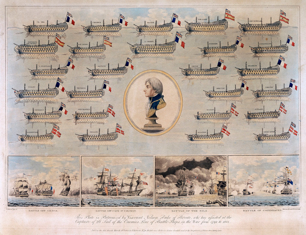 Detail of Ships captured by Nelson 1793-1801 and Battle of Genoa, Battle off Cape St Vincent, Battle of the Nile and Battle of Copenhagen by Thomas Buttersworth