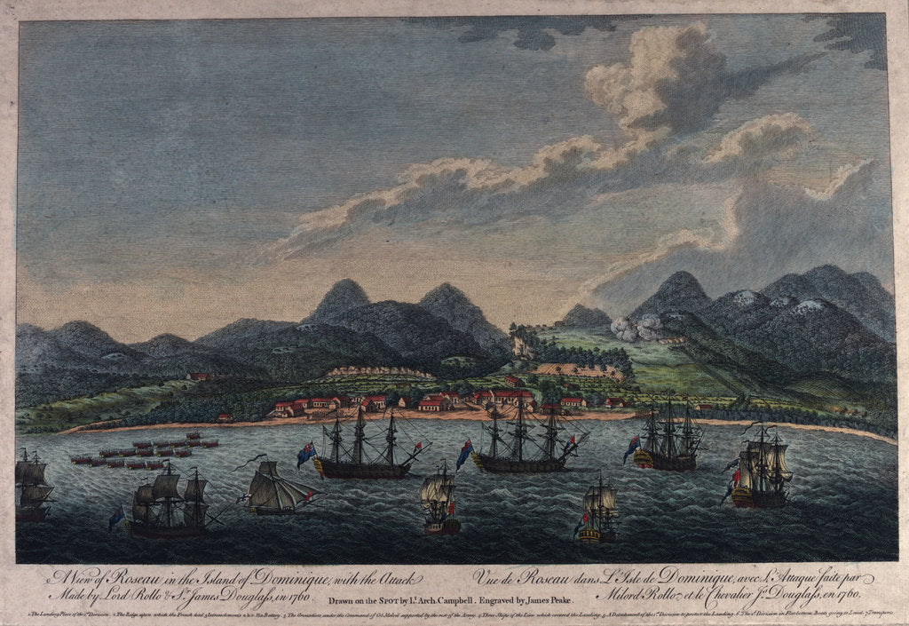 Detail of A view of Roseau in the island of Dominique, with the Attack Made by Lord Rollo & Sr James Douglass in 1760 by Archibald Campbell