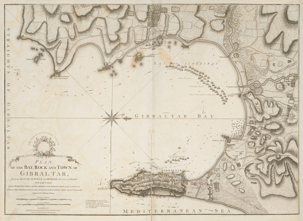 Detail of Plan of the bay, rock and town of Gibraltar by William Faden