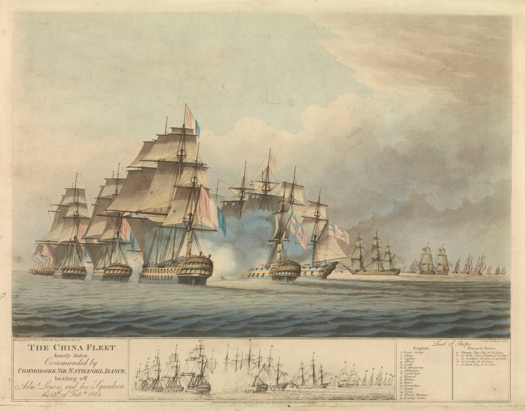 Detail of The China fleet heavily laden commanded by Commodore Sir Nathaniel Dance beating off Admiral Linois and his squadron the 15 February 1804 by Thomas Buttersworth