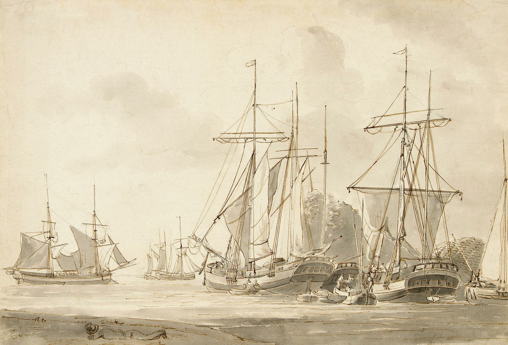 Detail of Group of brigs at anchor in a harbour by Gerrit Groenewegen