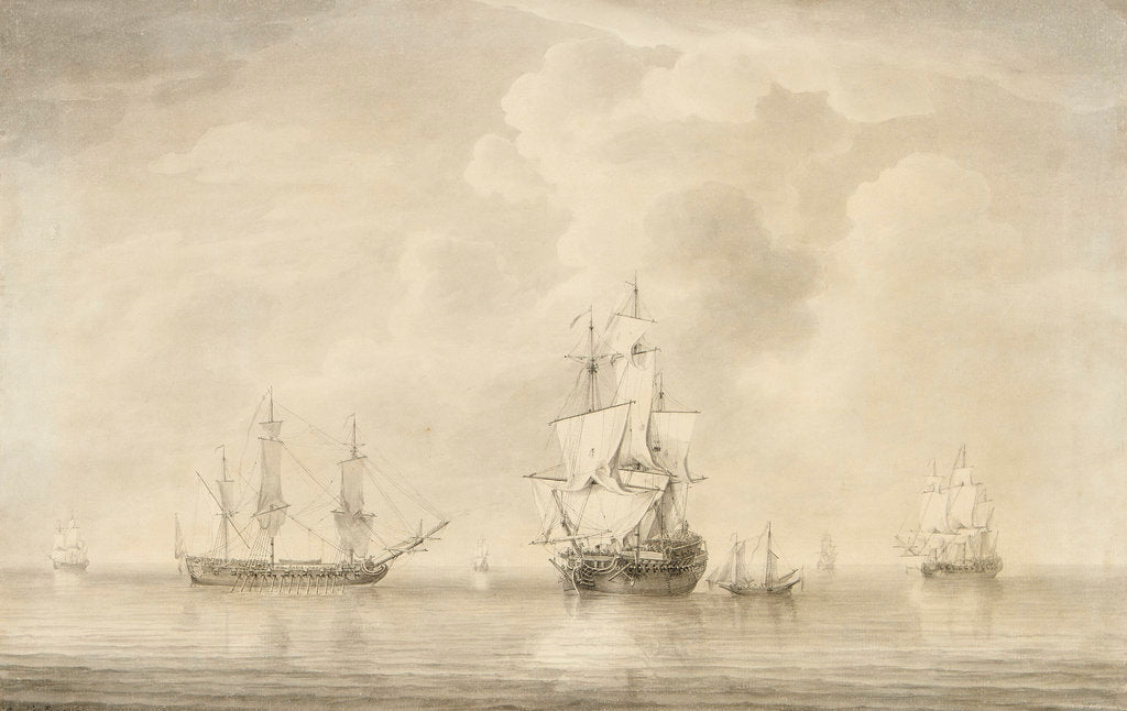 Detail of The taking of the 'Nuestra Senora de les Remedios' by the 'Prince Frederick', 'Duke' and 'Prince George' Privateers, 5 February 1746 by Charles Brooking