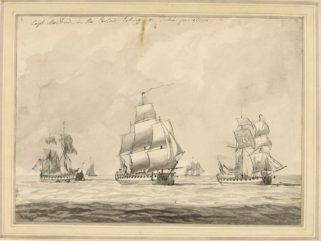 Captain MacBride in the 'Artois' taking two Dutch privateers by Dominic Serres the Elder