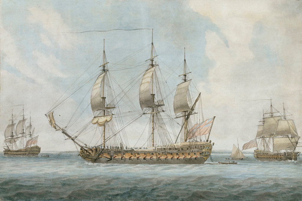 Detail of 74-gun ship in the Solent by Dominic Serres the Elder