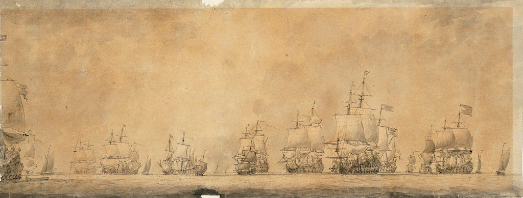 Detail of Dutch fleet by Willem van de Velde the Elder
