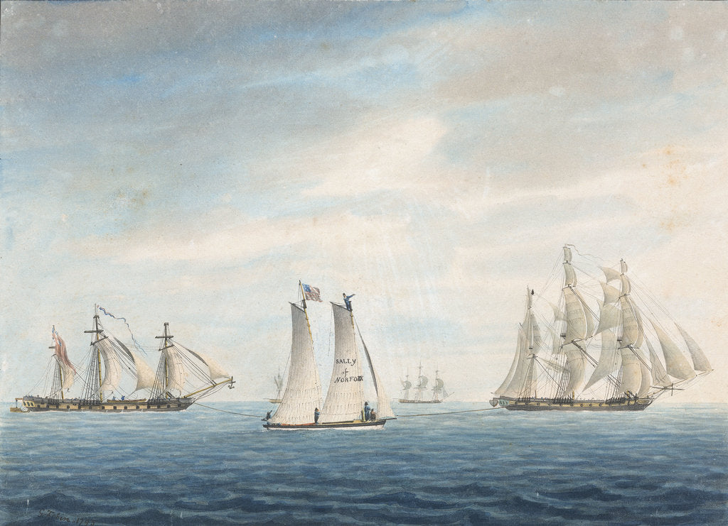 Detail of No 2. Dec 31st 1794. The Cleopatra towing the Thetis towards the Chesapeake. Lynx and Thisbe attending... A Virginian pilot boat the Sally of Norfolk in the foreground by George Tobin