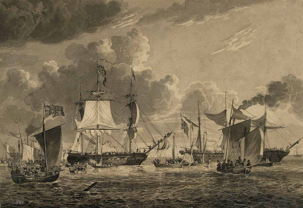 Detail of HMS 'George IV' passing Yarmouth on his return from Edinburgh, 1822 by William Joy