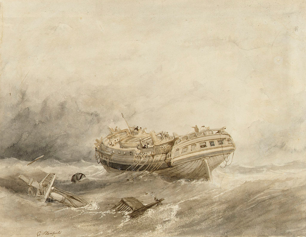 Detail of Dismasted merchantman drifting in a calm after a storm by Clarkson Stanfield