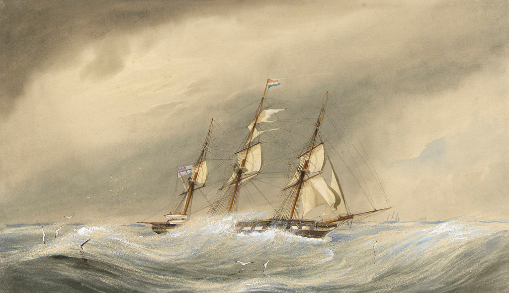 Detail of HMS 'Endymion' rounding the Horn in the first Flying Squadron, under Rear Admiral Geoffrey Phipps Hornby, 13 September 1870 by F. G. Innes Lillington