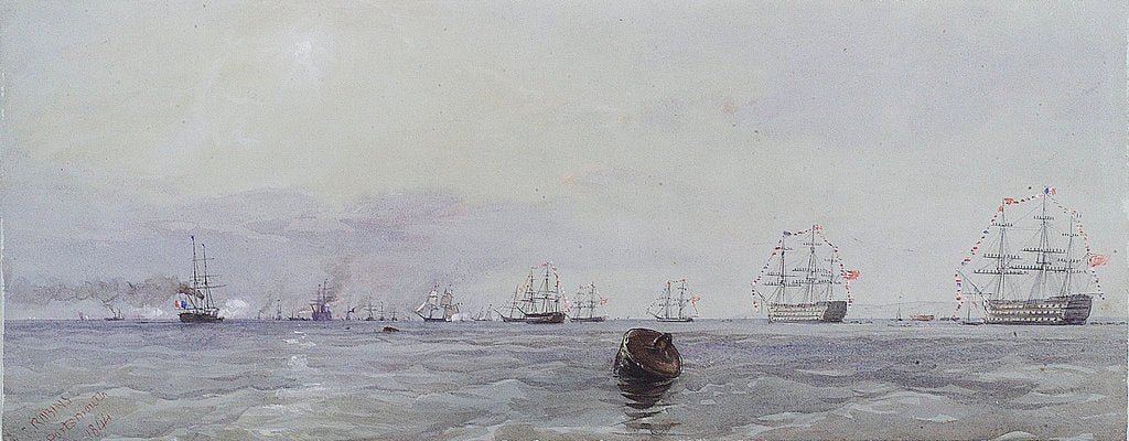 Detail of Louis Philippe's visit to Queen Victoria, October 1844. Passing the flag in Portsmouth Harbour by Thomas Sewell Robins