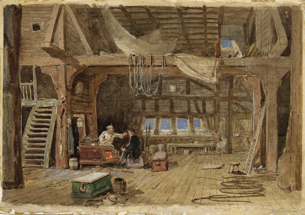 Detail of A sail maker's loft by William Roxby Beverley