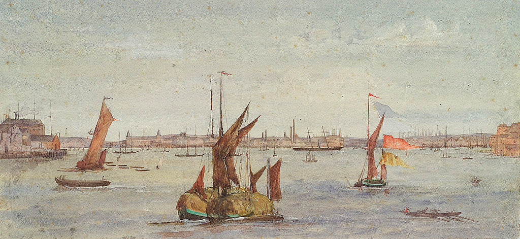 Detail of The Thames below Greenwich with hay barge and other shipping by Emily Frances Phipps Hornby