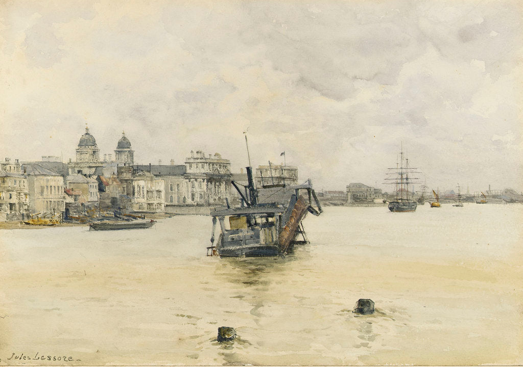 Detail of 'Greenwich', with a dredger on moorings off the Royal Naval College, Greenwich Hospital by Jules Lessore