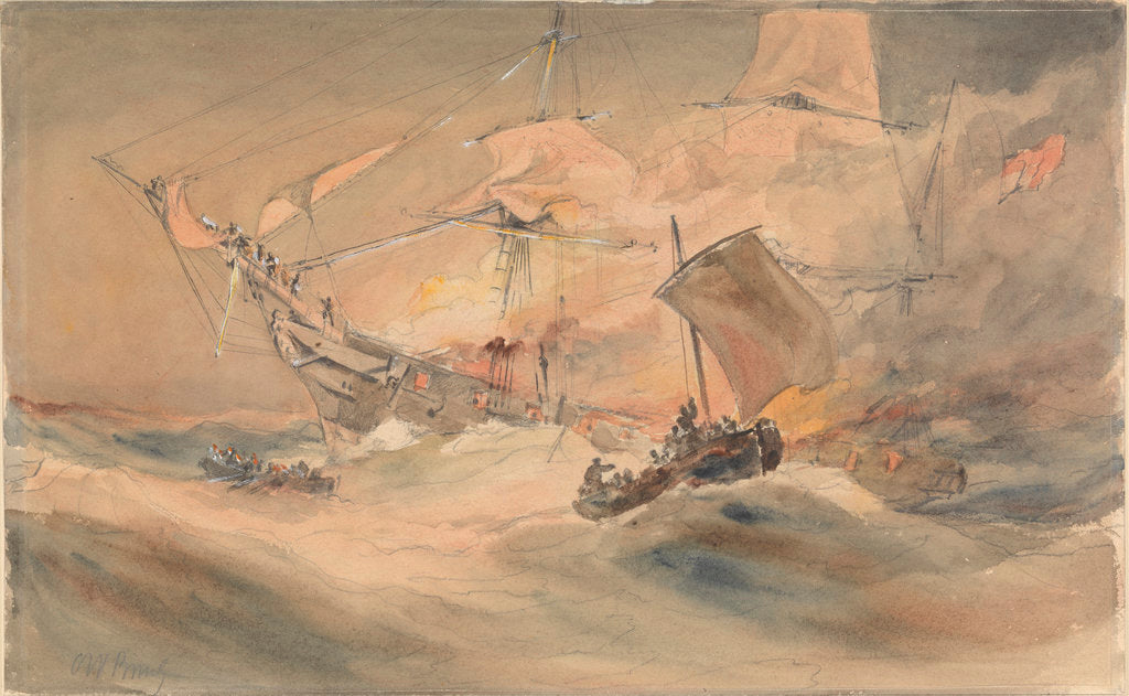 600 lives rescued from the 'Connaught' by the American ship 'Minnie Shiffe'r in the Atlantic, 8 October 1860 by Oswald Walter Brierly