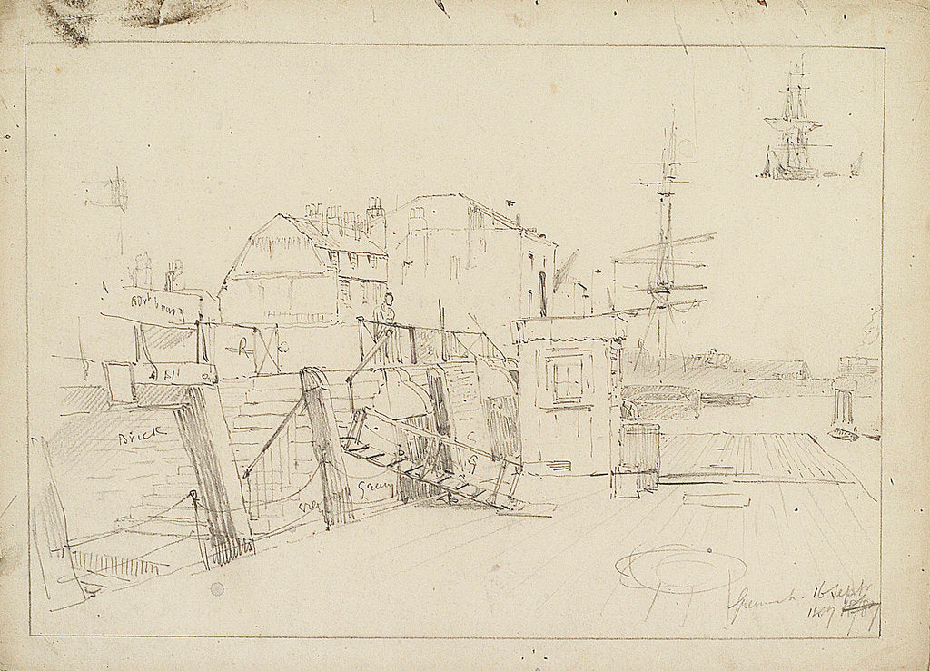 Detail of Sketch of Greenwich Pier by Thomas Bush Hardy