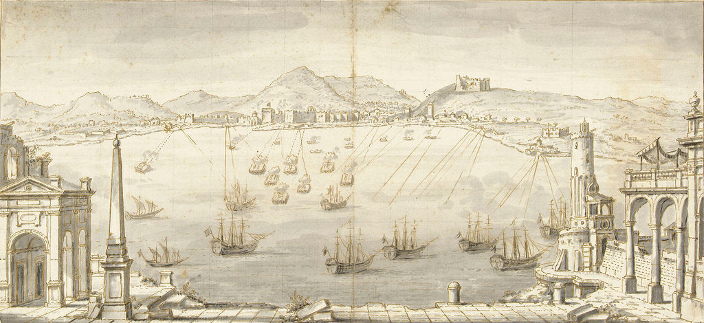 Detail of Mediterranean fortified city showing arcs of fire of defending batteries by unknown