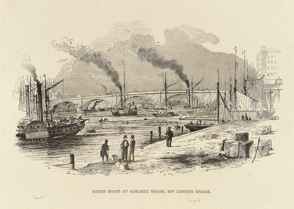 Detail of Steam boats at Adelaide Wharf, off London Bridge, including 'Kent' and 'Magnet' by unknown
