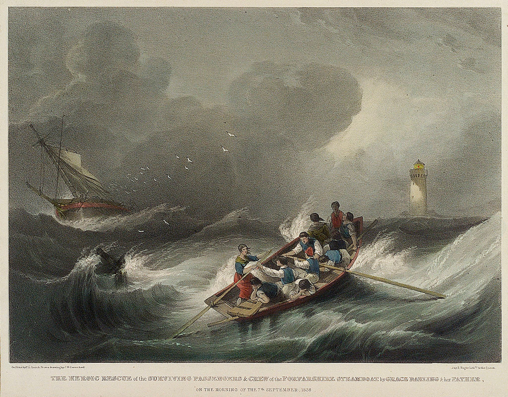 Detail of The heroic rescue of the surviving passengers and crew of the Forfarshire steamboat by Grace Darling & her father on the morning of the 7 September 1838 by John Wilson Carmichael