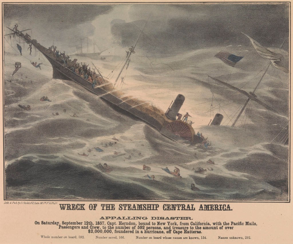 Detail of Wreck of the steamship 'Central America' on 12 September 1857, foundered in a hurricane, off Cape Hatteras by J Childs