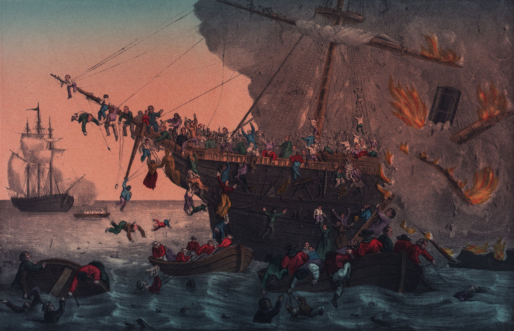 Detail of Burning of the steamship 'Austria', 13 September 1858 by unknown