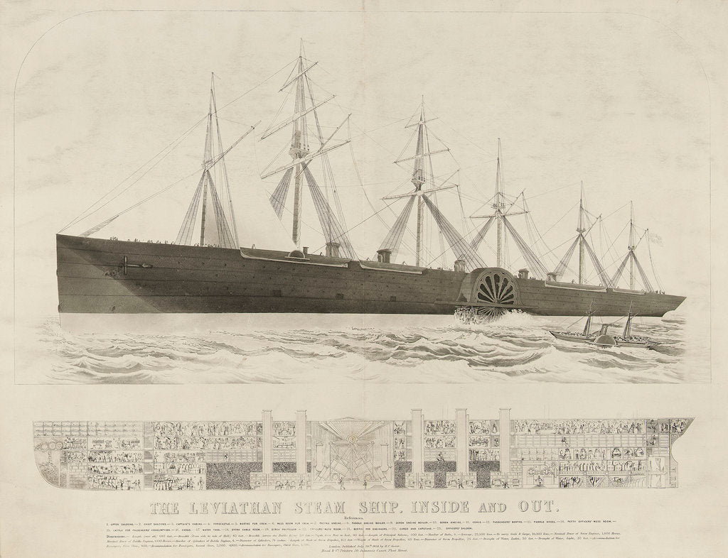 Detail of The 'steam ship 'Leviathan' ('Great Eastern') by Read & Co